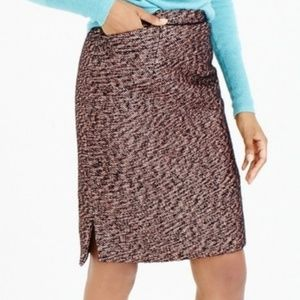 J Crew Collection Rose Gold Tweed Pencil Skirt
